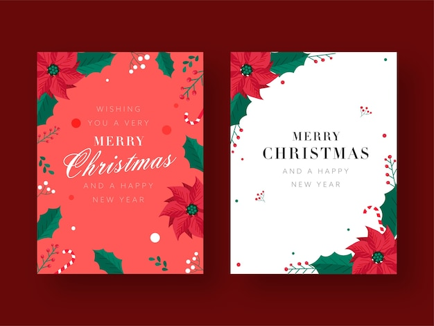 Frohe weihnachten und ein gutes neues jahr grußkarte mit weihnachtsstern blumen verziert