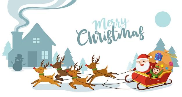 Frohe weihnachten und ein gutes neues jahr grußkarte. weihnachtsmann reitet im schlitten mit rentieren.
