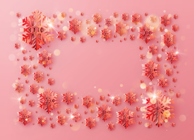 Frohe weihnachten und ein gutes neues jahr grußschablonenrahmen mit folienschneeflocken für feiertagsplakate, plakate, banner, flyer und broschüren.
