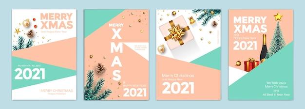 Frohe weihnachten und ein gutes neues jahr hintergründe, grußkarten, plakate, feiertagsabdeckungen. design mit realistischen silvester- und weihnachtsornamenten. vektor illustration weihnachten festliche vorlagen