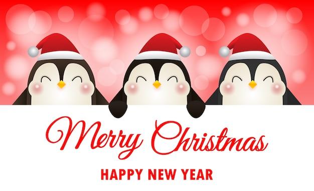 Frohe weihnachten und ein gutes neues jahr hintergrund mit pinguinen Premium Vektoren