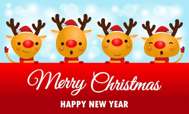 Frohe weihnachten und ein gutes neues jahr hintergrund mit rentieren