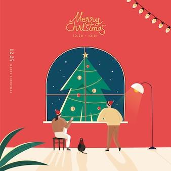 Frohe weihnachten und ein gutes neues jahr illustration