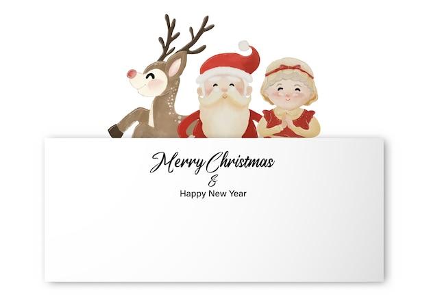 Frohe weihnachten und ein gutes neues jahr mit dem weihnachtsmann, frau claus und rentier, die hinter dem weißen etikett stehen. aquarellentwurf auf weißer hintergrundillustration