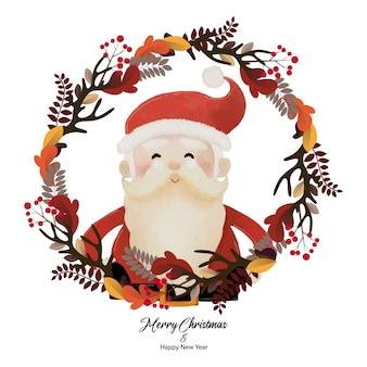 Frohe weihnachten und ein gutes neues jahr mit dem weihnachtsmann im pflanzenkranz. aquarellentwurf auf weißer hintergrundillustration