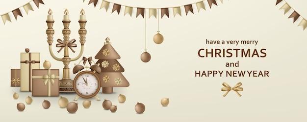 Frohe weihnachten und ein gutes neues jahr mit geschenkboxen und wecker