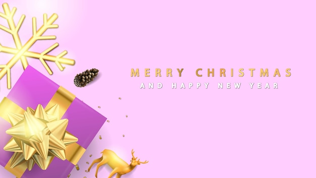 Frohe weihnachten und ein gutes neues jahr mit lila geschenkbox
