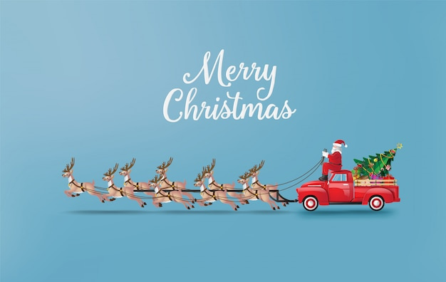 Frohe weihnachten und ein gutes neues jahr mit santa claus und rentier