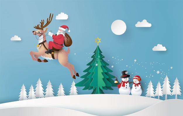 Frohe weihnachten und ein gutes neues jahr mit santa claus