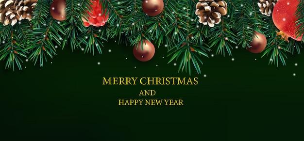 Frohe weihnachten und ein gutes neues jahr mit verzierten weihnachtszweigen