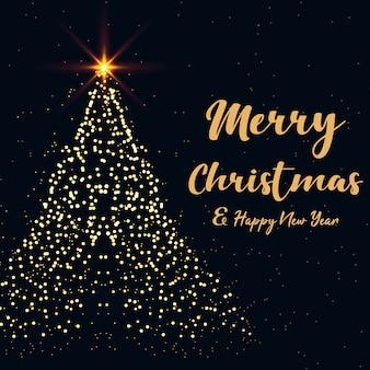 Frohe weihnachten und ein gutes neues jahr mit weihnachtsbaum mit goldenen glänzenden sternen