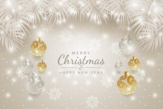Frohe weihnachten und ein gutes neues jahr mit winterhintergrund