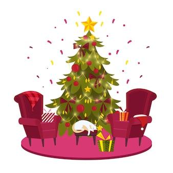 Frohe weihnachten und ein gutes neues jahr postkarte mit geschmücktem weihnachtstannenbaum, sessel, geschenkbox, katze