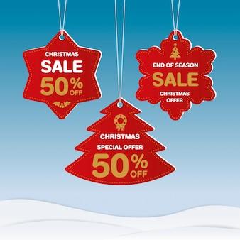 Frohe weihnachten und ein gutes neues jahr rabatt label design.