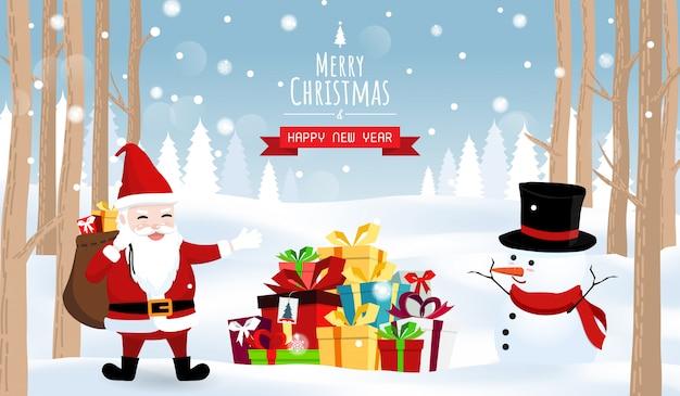 Frohe weihnachten und ein gutes neues jahr, santa schneemann geschenkboxen