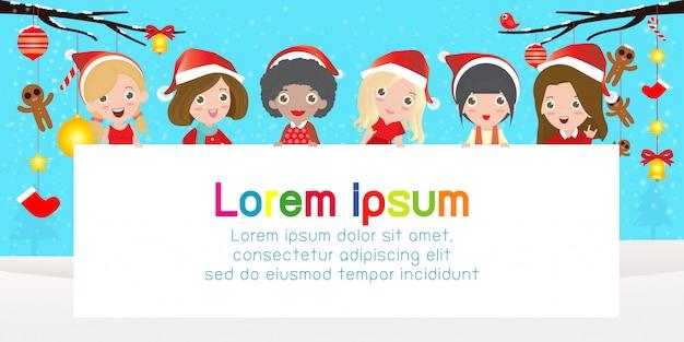 Frohe weihnachten und ein gutes neues jahr, süße junge mädchen kostümparty. gruppe des mädchens im weihnachtscosplay mit großem schild. vorlage für werbebroschüre. vektor-illustration.