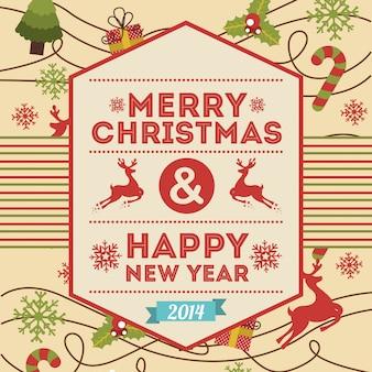 Frohe Weihnachten und ein gutes neues Jahr über rosa Hintergrundvektorillustration