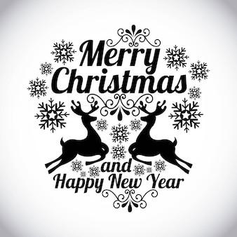 Frohe weihnachten und ein gutes neues jahr über graue hintergrundvektorillustration