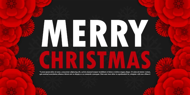 Frohe weihnachten und ein gutes neues jahr, vektor-illustration feiertagsillustration mit beschriftungsetikett und blumen