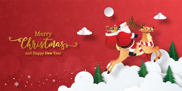 Frohe weihnachten und ein gutes neues jahr, weihnachtsbanner von santa claus und rentier am himmel