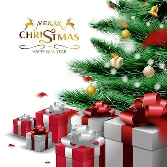 Frohe weihnachten und ein gutes neues jahr, weihnachtsbaumzweige und ornamenthintergrund