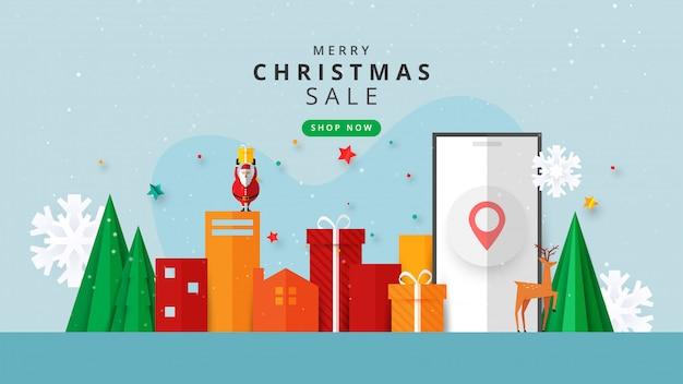 Frohe weihnachten und ein gutes neues jahr. winter online auf der website oder in der mobilen anwendung verkauf banner vorlage banner.