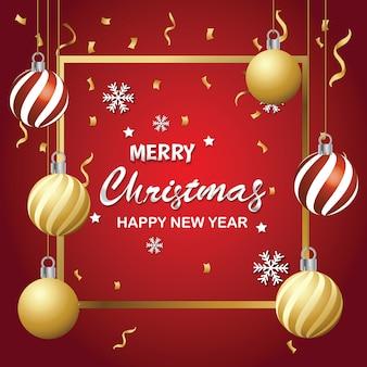 Frohe weihnachten und eine typografische karte des guten rutsch ins neue jahr