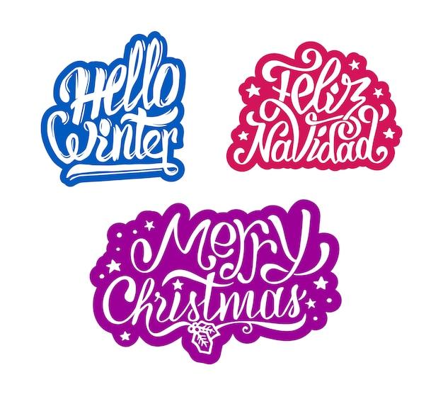Frohe weihnachten und feliz navidad aufkleber