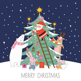 Frohe weihnachten und frohe feiertage-karte mit süßem weihnachtsmann, der den neujahrsbaum schmückt