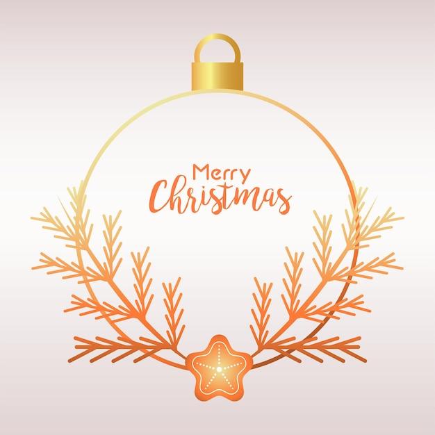 Frohe weihnachten und frohes neues jahr-beschriftungskarte mit goldener kugel und tannenillustration