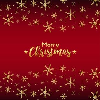 Frohe weihnachten und frohes neues jahr-beschriftungskarte mit goldener schneeflockenillustration