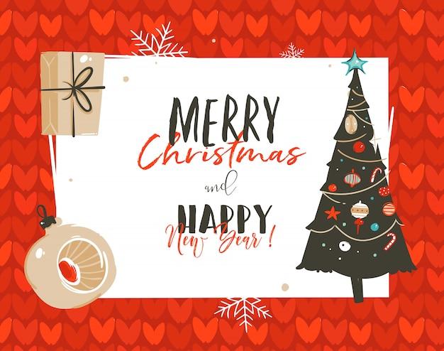 Frohe weihnachten und frohes neues jahr illustrationen grußkarte vorlage tag mit überraschung geschenkboxen und weihnachtsbaum isoliert auf weißem hintergrund