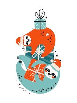 Frohe weihnachten und frohes neues jahr karte. faultiere in weihnachtsmützen und geschenken. comicfiguren bären