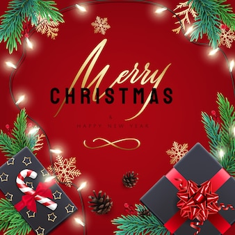 Frohe weihnachten und frohes neues jahr karte mit geschenken und schriftzug. roter hintergrund mit realistischen feiertagsdekorationen