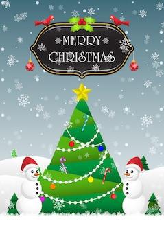 Frohe weihnachten und frohes neues jahr kartenhintergrund mit weihnachtsbaum und schneemann