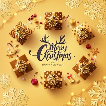 Frohe weihnachten und frohes neues jahr poster oder banner vorlage
