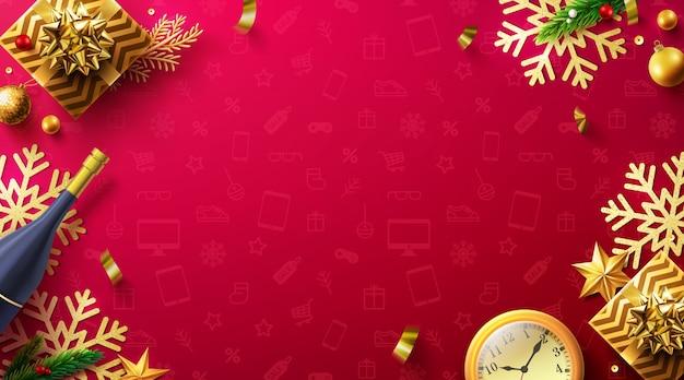 Frohe weihnachten und frohes neues jahr roter hintergrund mit geschenkbox und weihnachtsdekorationselementen.