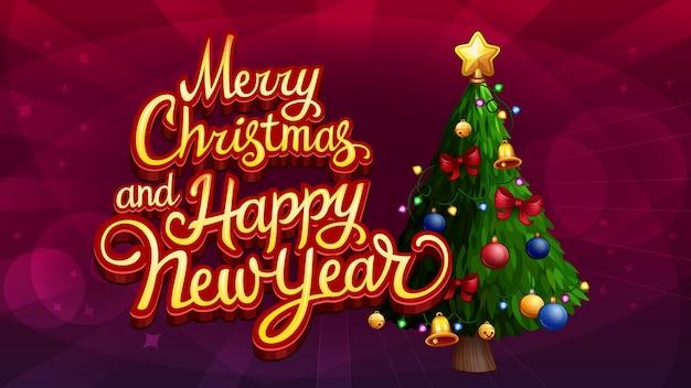 Frohe weihnachten und frohes neues jahr text mit weihnachtsbaum