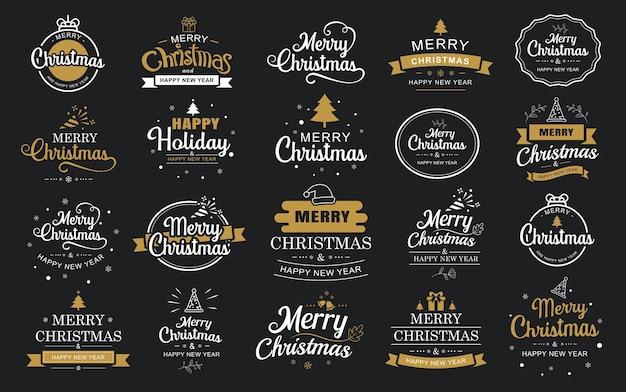 Frohe weihnachten und frohes neues jahr typografie-etikett mit symbolen design-set verwenden sie für aufkleber abzeichen handwerk grußkarte