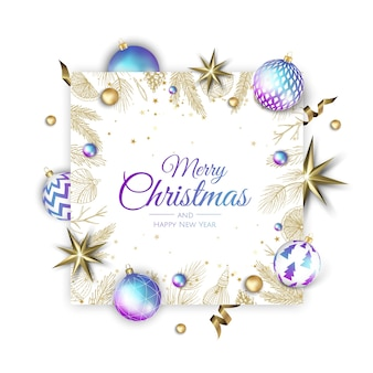 Frohe weihnachten und frohes neues jahr urlaub weiße banner illustration.
