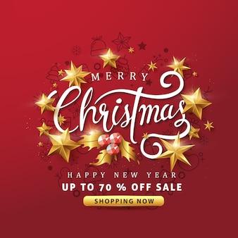 Frohe weihnachten und frohes neues jahr verkauf banner hintergrund mit goldenen sternen