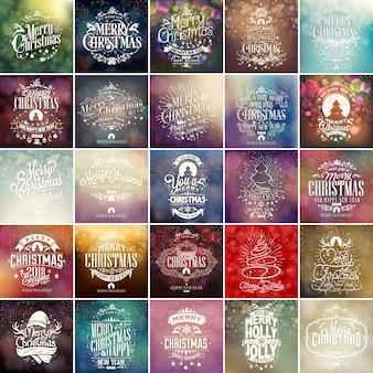 Frohe weihnachten und frohes neues jahr vintage vector set hintergrund mit typografie