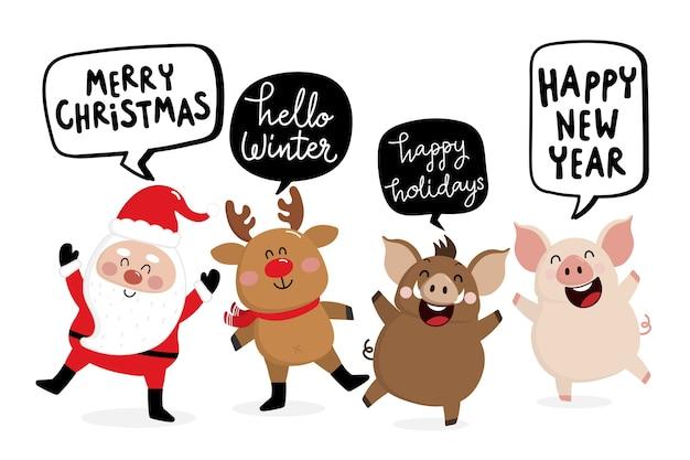Frohe weihnachten und guten rutsch-grußkarte 2019