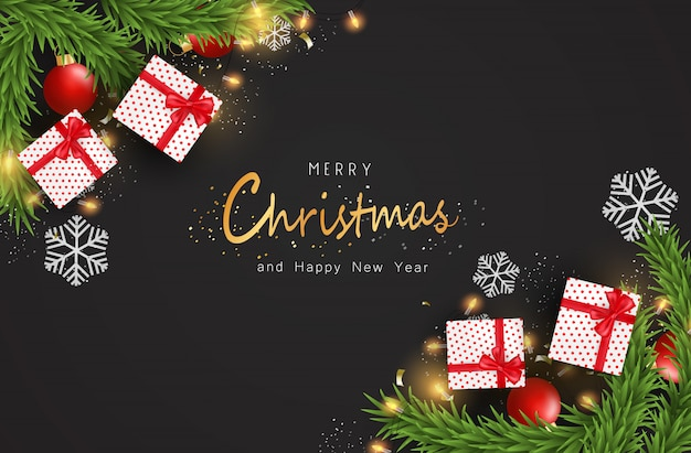Frohe weihnachten und guten rutsch ins neue jahr auf dunklem hintergrund. weihnachtshintergrund mit typografie und elementen.