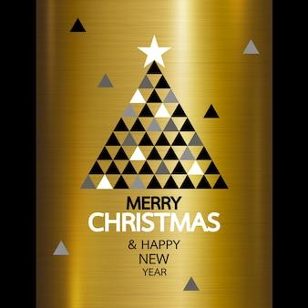 Frohe weihnachten und guten rutsch ins neue jahr auf goldmetall
