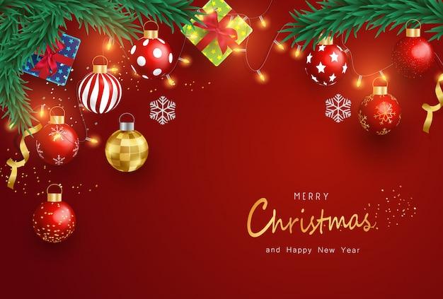 Frohe weihnachten und guten rutsch ins neue jahr auf rotem hintergrund. weihnachtshintergrund mit typografie und elementen.