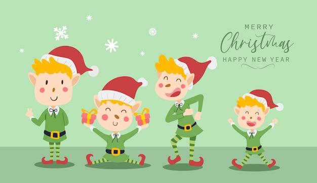 Frohe weihnachten und guten rutsch ins neue jahr grußkarte mit süßem elfenkostüm lustiges und fröhliches charakterdesign im flachen stil. vektor-illustration.