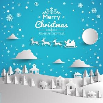 Frohe weihnachten und guten rutsch ins neue jahr grußkarte papierstil