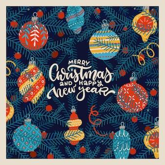 Frohe weihnachten und guten rutsch ins neue jahr grußkartenvorlage tannenzweige mit hängenden dekorativen ...