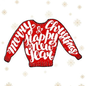 Frohe weihnachten und guten rutsch ins neue jahr in der roten strickjacke
